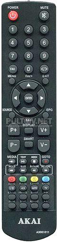 A3001011 неоригинальный пульт для телевизора Akai LEA-19V21M и других