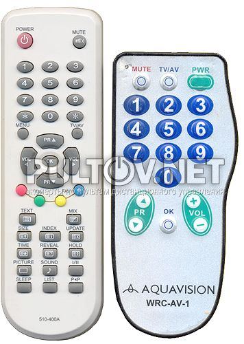 AQUAVISION WRC-AV-1, 510-400A пульт для телевизора