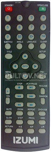 RC-0011DVD, WS-528B пульт для DVD-плеера Izumi DD20D100KB и др.