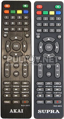 RC01-S512, Akai RC01-S512 оригинальный пульт для телевизора Akai и Supra