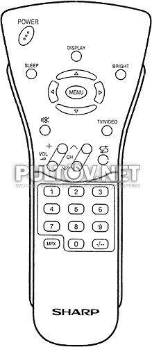 RRMCG1663CESA пульт для телевизора Sharp LC-13C2H и др.