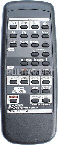 RRMCG0100AWSA пульт для музыкального центра Sharp CD-C265X и др.