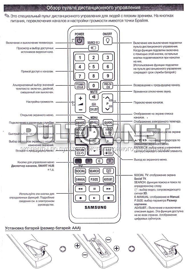 схема пульта samsung bn59-01014a